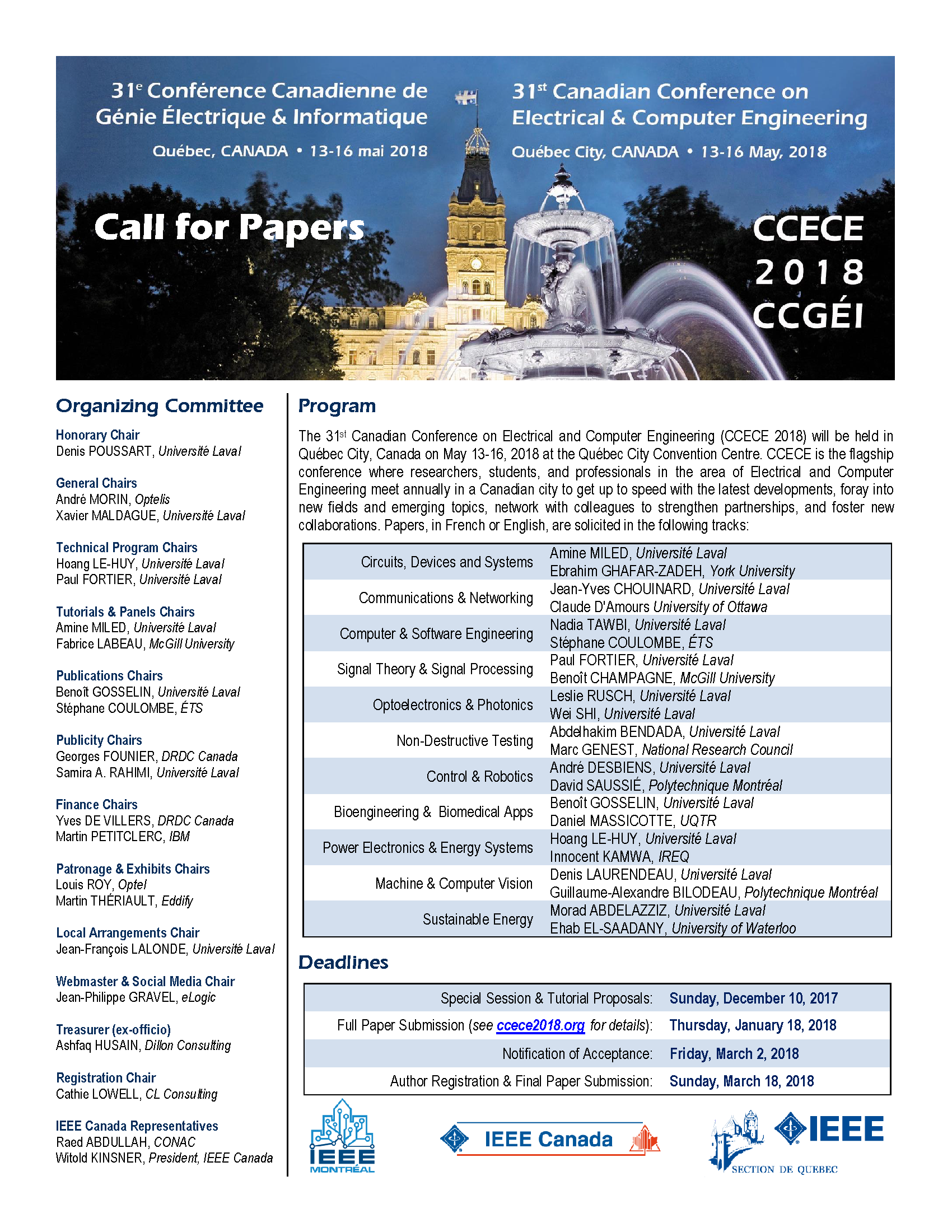 CCECE 2018 Call for Papers - English version