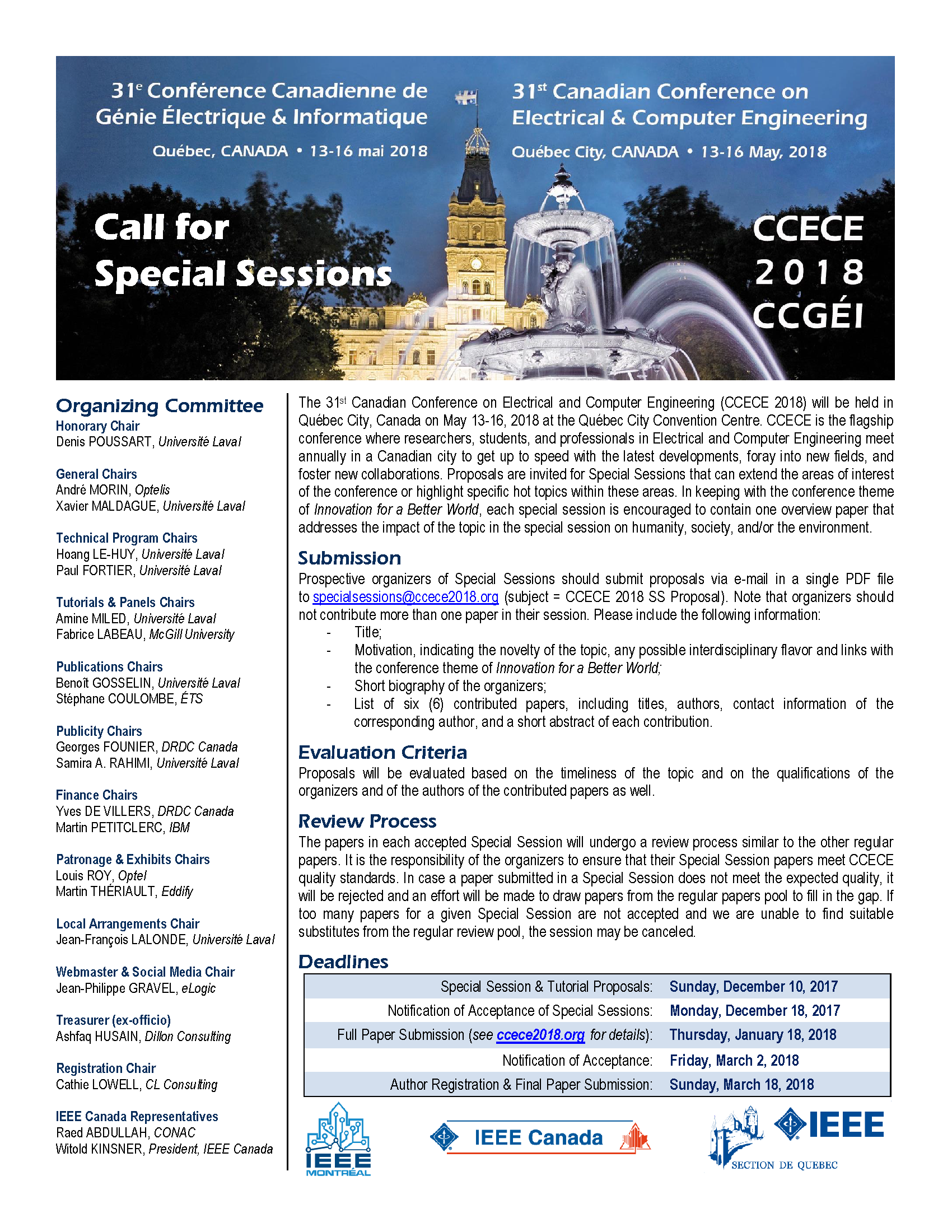 CCECE 2018 - Call for Special Sessions