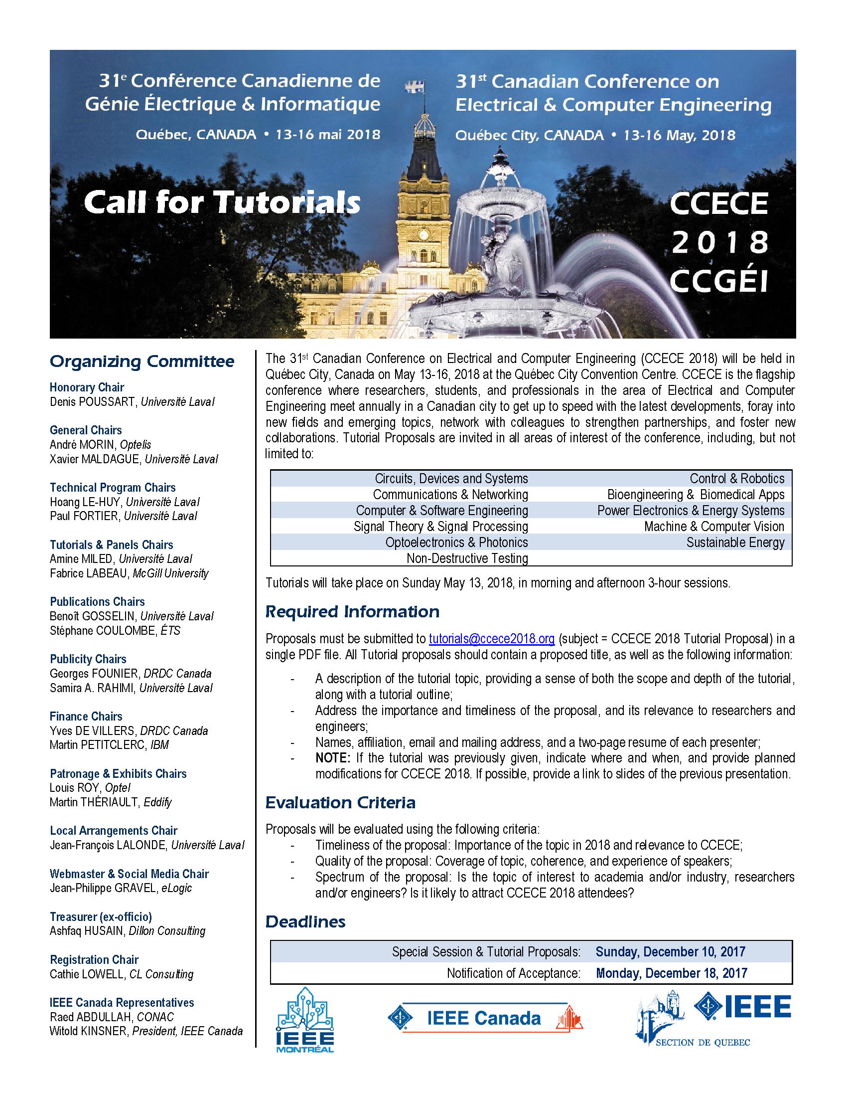 CCECE 2018 - Call for Tutorials